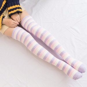 Striped Socks Pink Purple Soft Thigh High Socks